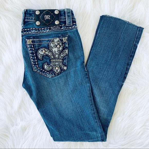 Miss Me Fleur De Lis Studded Straight Leg Jeans